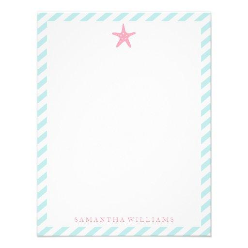 Estrellas de mar rosadas en rayas de la menta comunicados