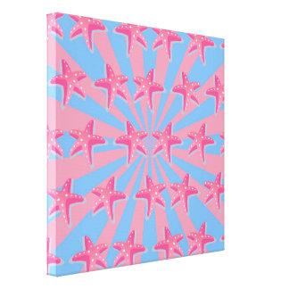 Estrellas de mar rosadas femeninas lona estirada galerías