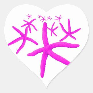 estrellas de mar rosadas pegatina en forma de corazón