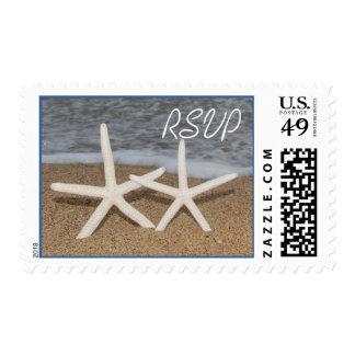 Estrellas de mar RSVP del dedo blanco que casa Estampillas