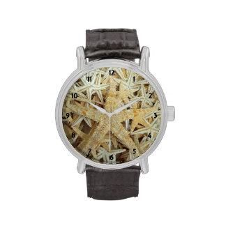 Estrellas de mar secadas moreno relojes de mano