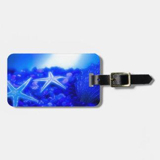 Estrellas de mar subacuáticas etiquetas para equipaje