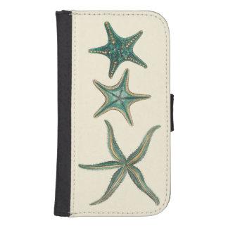 Estrellas de mar triples del Aquamarine Funda Billetera Para Teléfono