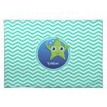 Estrellas de mar verdes; Aguamarina Chevron verde Mantel