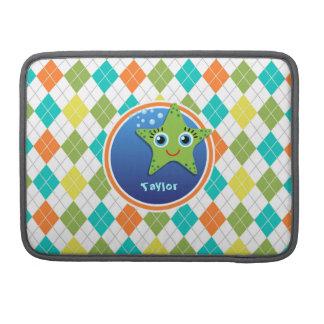 Estrellas de mar verdes en el modelo colorido de funda para macbook pro