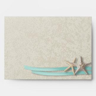 Estrellas de mar y aguamarina de la cinta sobres