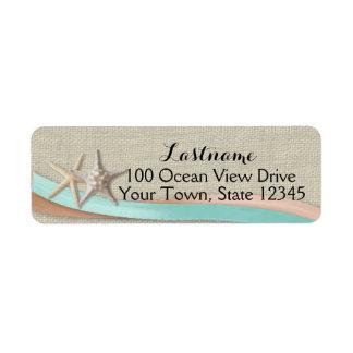 Estrellas de mar y aguamarina y melocotón de la etiqueta de remitente