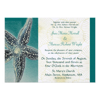 Estrellas de mar y cáscaras que casan la invitació anuncios