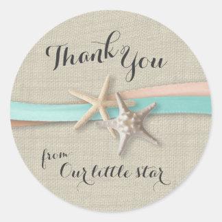 Estrellas de mar y cinta pegatina redonda