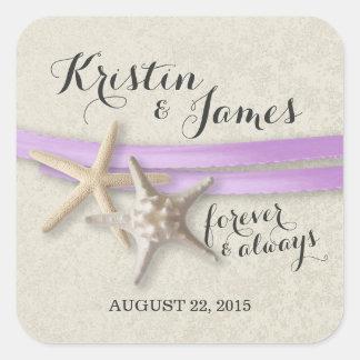Estrellas de mar y cinta púrpura calcomanías cuadradass personalizadas