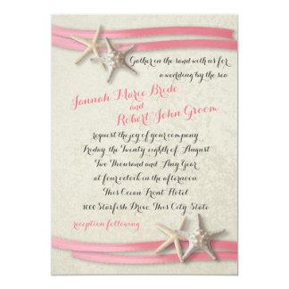 """Estrellas de mar y cinta rosada invitación 5"""" x 7"""""""