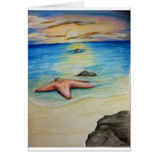 Estrellas de mar y la orilla tarjeta de felicitación