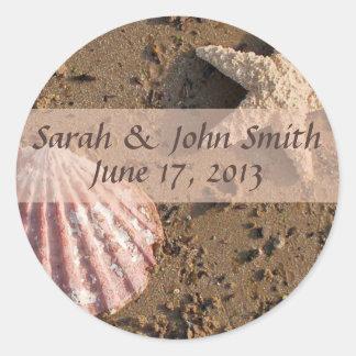 Estrellas de mar y mar Shell Seals2 del boda de Etiqueta Redonda