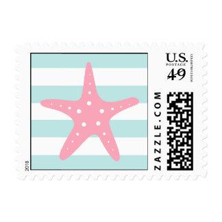 Estrellas de mar y rayas rosadas blancas de la timbres postales