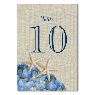 Estrellas de mar y tarjeta azul del número de la t