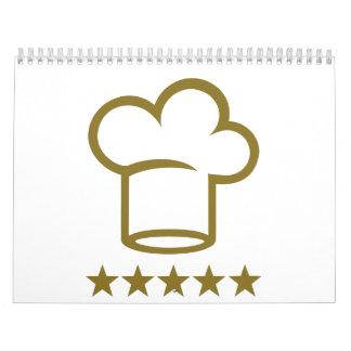 Estrellas de oro del gorra del cocinero calendario de pared