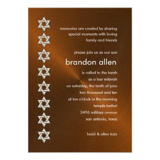 Estrellas de plata de cobre de Mitzvah Sheen de la Invitación