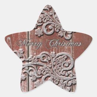 Estrellas de plata de madera de la nieve del pegatina en forma de estrella