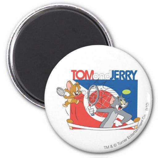 Estrellas de tenis de Tom y Jerry 4 Imán Redondo 5 Cm