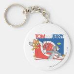 Estrellas de tenis de Tom y Jerry 4 Llavero Redondo Tipo Pin