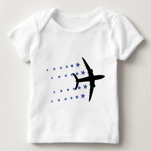 estrellas del aeroplano playera de bebé