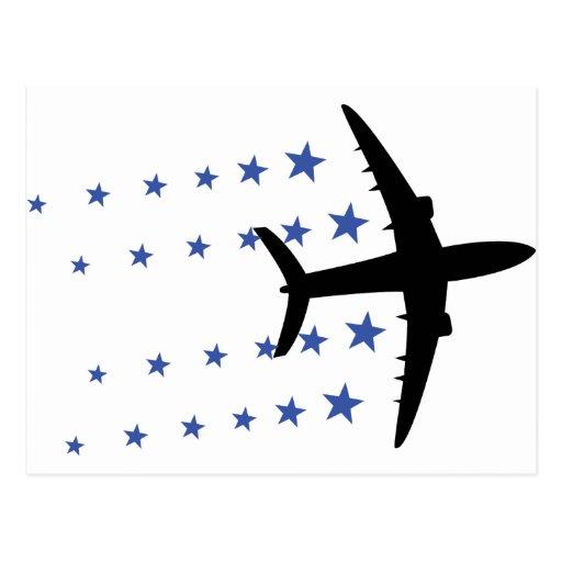 estrellas del aeroplano tarjeta postal