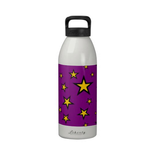 Estrellas del amarillo en fondo púrpura botallas de agua