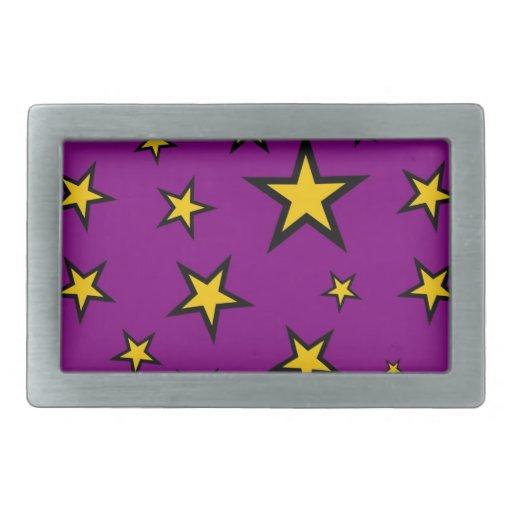 Estrellas del amarillo en fondo púrpura hebilla cinturon rectangular