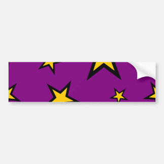 Estrellas del amarillo en púrpura pegatina para auto