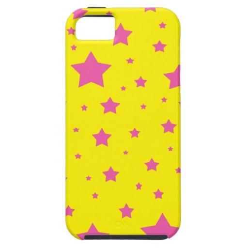 Estrellas del amarillo y del rosa iPhone 5 fundas