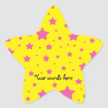 Estrellas del amarillo y del rosa colcomanias forma de estrella