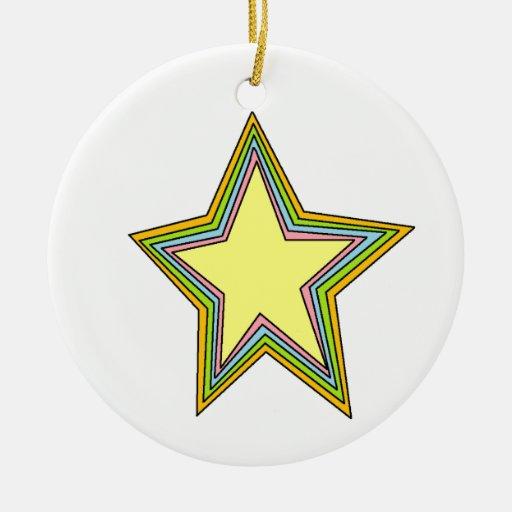 Estrellas del arco iris adorno navideño redondo de cerámica