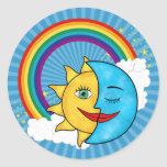 Estrellas del arco iris de la luna de Sun Pegatina Redonda