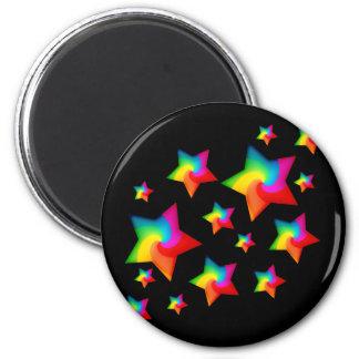 Estrellas del arco iris de Swirly Imán De Nevera