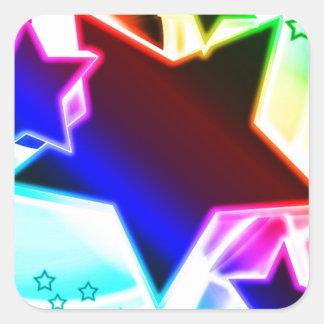 Estrellas del arco iris calcomanías cuadradas personalizadas