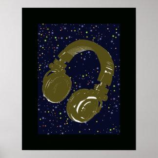 estrellas del auricular y del cielo de DJ Póster