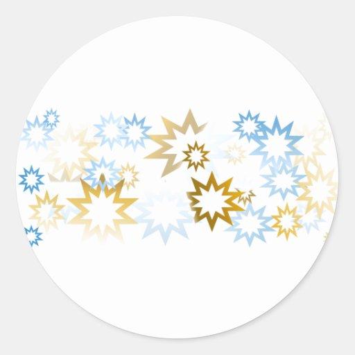 Estrellas del azul y del oro del cromo etiqueta redonda
