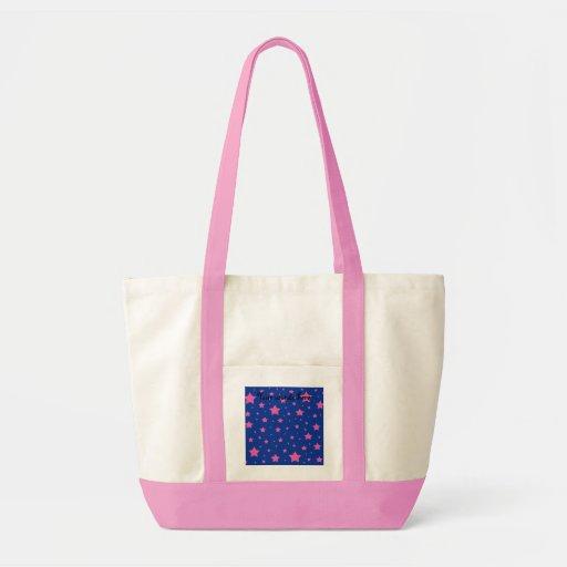 Estrellas del azul y del rosa bolsa tela impulso