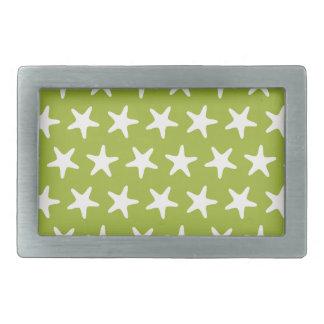 Estrellas del blanco del verde del modelo de la hebillas cinturón rectangulares