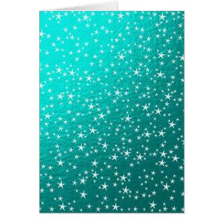 estrellas del blanco en menta tarjeta de felicitación