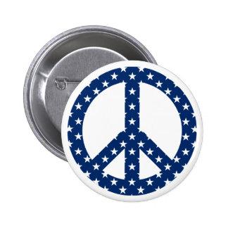 Estrellas del blanco en símbolo de paz azul pin redondo de 2 pulgadas