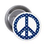 Estrellas del blanco en símbolo de paz azul pins