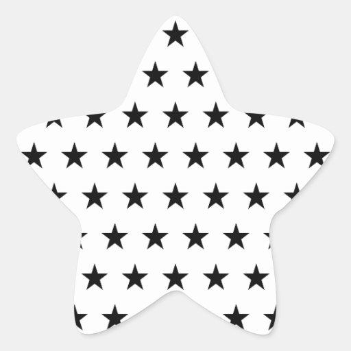 Estrellas del blanco y del negro calcomania forma de estrella