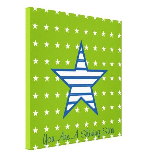 Estrellas del blanco y regalos azulverdes de las r impresión en lona