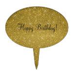 Estrellas del brillo del oro del feliz cumpleaños palillos de tarta
