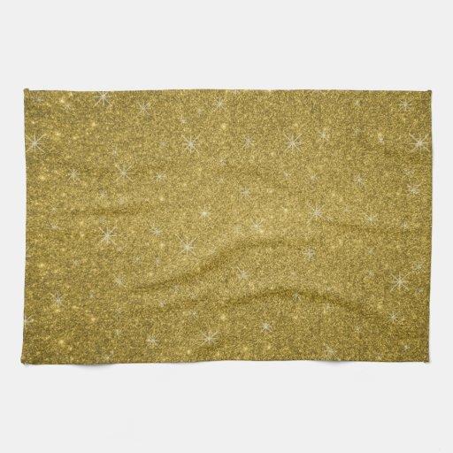Estrellas del brillo del oro toalla de mano