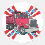 Estrellas del camión volquete etiqueta redonda