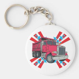 Estrellas del camión volquete llavero redondo tipo pin