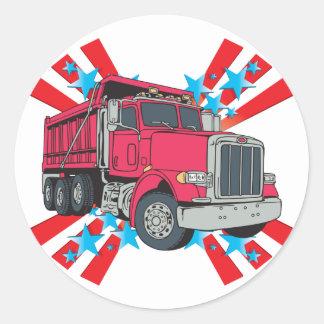 Estrellas del camión volquete pegatina redonda