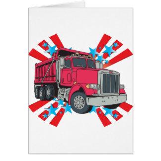Estrellas del camión volquete tarjeta de felicitación
